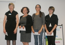 CEO Sonia Lewis (left) with 3-year service honourees: Mary Blott, Kerri Begley, and Trinity Fraser-Sintic.