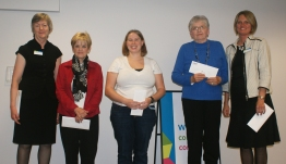 CEO Sonia Lewis (left) with 5-year service honourees: Kathryn Frederick, Kim Cluthe, Eleanore Moore, and Sabina Franzen.