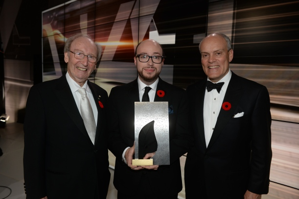 Sean Michaels with Giller Prize founder Jack Rabinovitch (left) and Scotiabank's Brian Porter (right).Courtesy of Scotiabank Giller Prize.