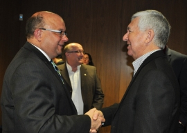 Mayor Vrbanovic greeted by former Mayor Carl Zehr after the speech.