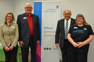 Library board chair Wayne Buchholtz and Mayor Vrbanovic with Julie Curry, manager of circulation services (L) and Ann Andrusyszyn, development manager (R).