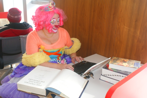 """""""You look like you've never seen a clown read a dictionary before."""" Thanks to QP Doll from HappySpace for being a good sport."""