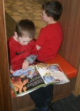 This is an active space, but kids can always find a quiet cubby to read in.