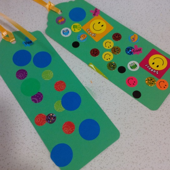 Kids created bookmarks and tucked them into books throughout the library - a lovely surprise for their neighbours!