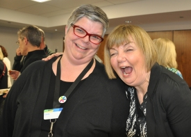 Laura Reed, Manager of Children's and Teen Services, with Ann
