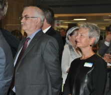 Michael Monahan, CEO of sponsor Library Services Centre, with KPL staff member Maureen Plomske