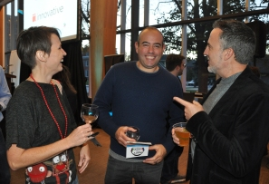 CBC-KW columnist Tenille Bonoguore with Alex Kinsella and Anthony Reinhart of Communitech