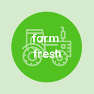 """Icon of a farm tractor with text; """"Farm Fresh""""."""