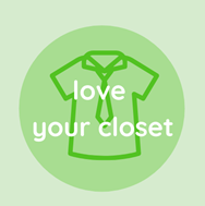 """Icon of a shirt and tie with text; """"Love your closet""""."""