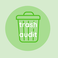 """Icon of a trash can with text; """"Trash Audit""""."""