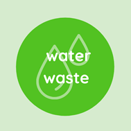 """Icon of two drops of water with text; """"Water Waste""""."""