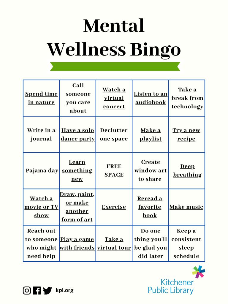 Thoughts On Self-Care + Mental Wellness Bingo - Kitchener ...