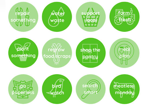 "A 4 by 3 grid made of green circles. Each circle has text inside. The text reads, ""repair something, water waste, support local, farm fresh, plant something, regrow food scraps, shop the pantry, meal plan, paperless, bird watch, search smart, meatless monday."""