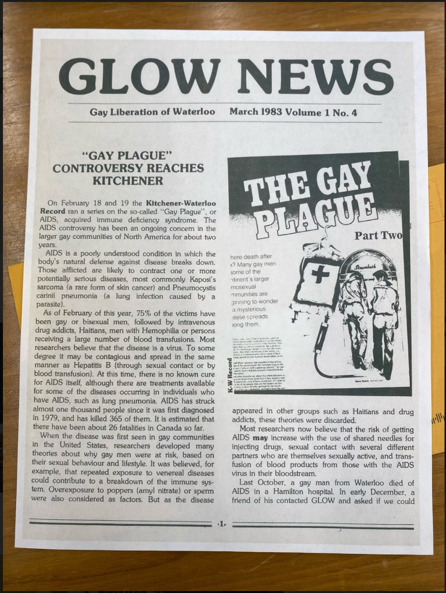 """A newsletter titled """"Glow News"""" from March 1983. A headline reads """"Gay Plague"""" Controversy Reaches Kitchener."""