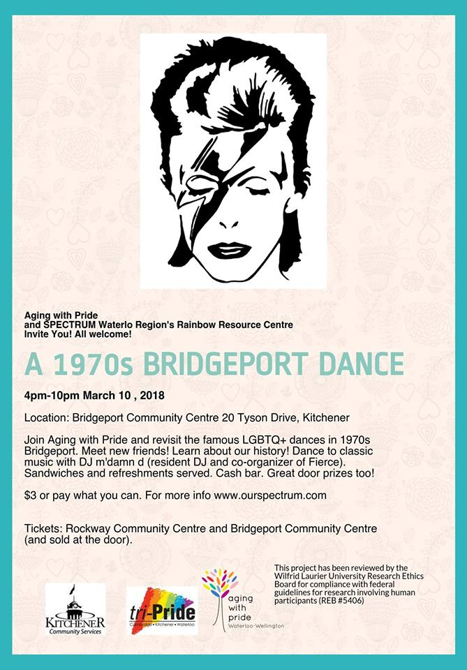 """A poster for a 2018 event that recreated the legendary Bridgeport Dances. The title is """"A 1970s Bridgeport Dance"""" and there is a black and white drawing of David Bowie as Ziggy Stardust at the top."""