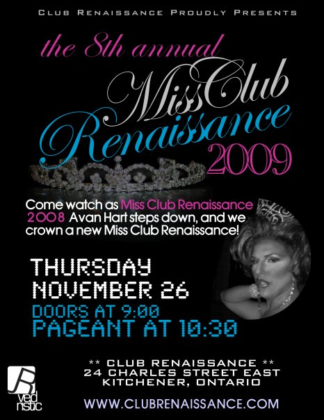 A flyer from the 2009 Miss Club Renaissance Pageant from November 2009.
