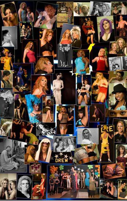 A photo collage of many drag performers who worked at Club Renaissance.