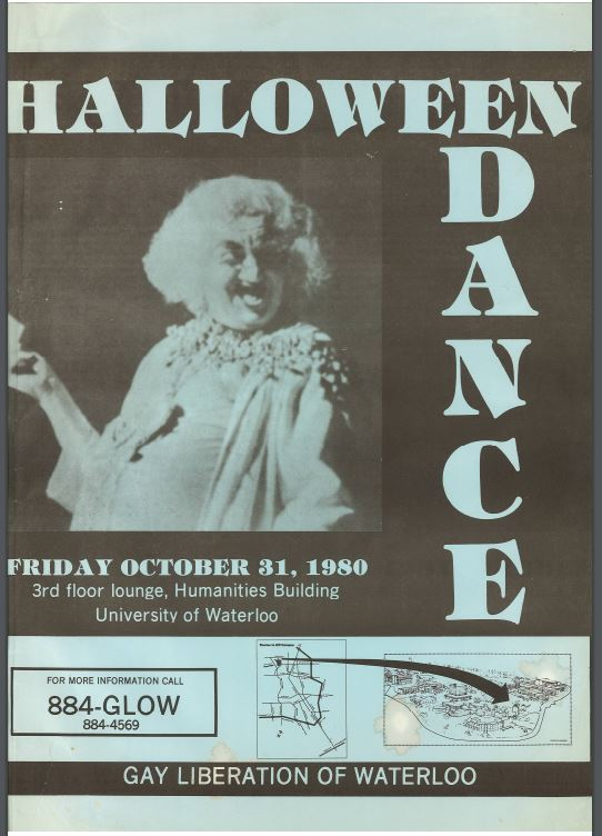 A poster for a halloween dance held by GLOW in 1980. The poster features an image of a person dancing in a witch-like costume.