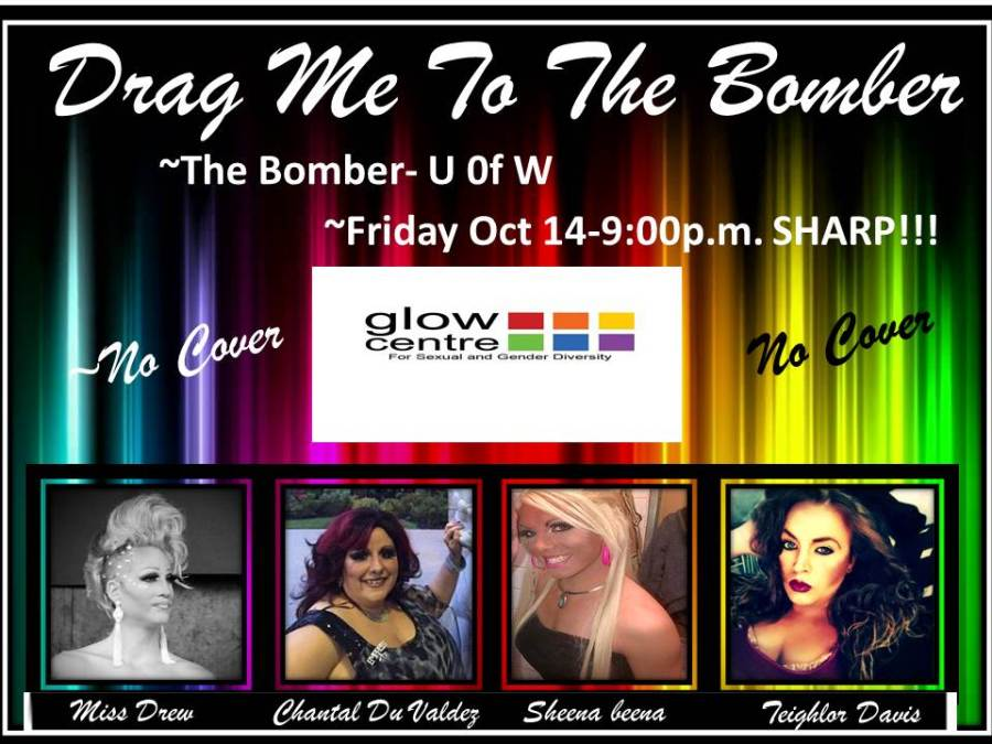 """A flyer for a drag show called """"Drag Me To The Bomber"""" from 2013. Featuring photos of the drag performers Miss Drew, Chantal DuValdez, Sheena Beena and Teighlor Davis."""