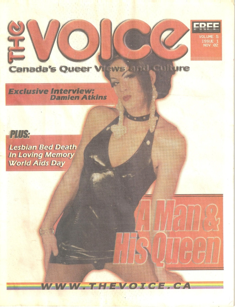 A cover of The Voice magazine, featuring a photo of Miss Drew in a short black leather dress and a black collar. This issue is from November 2002.