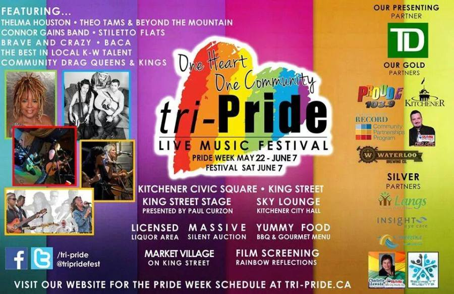 A rainbow flyer with the tripride logo in the middle. On the left are photos of the performers including Thelma Houston, Theo Tams and Beyond The Mountain, Connor Gains Band, Stiletto Flats, Brave and Crazy and Baca.