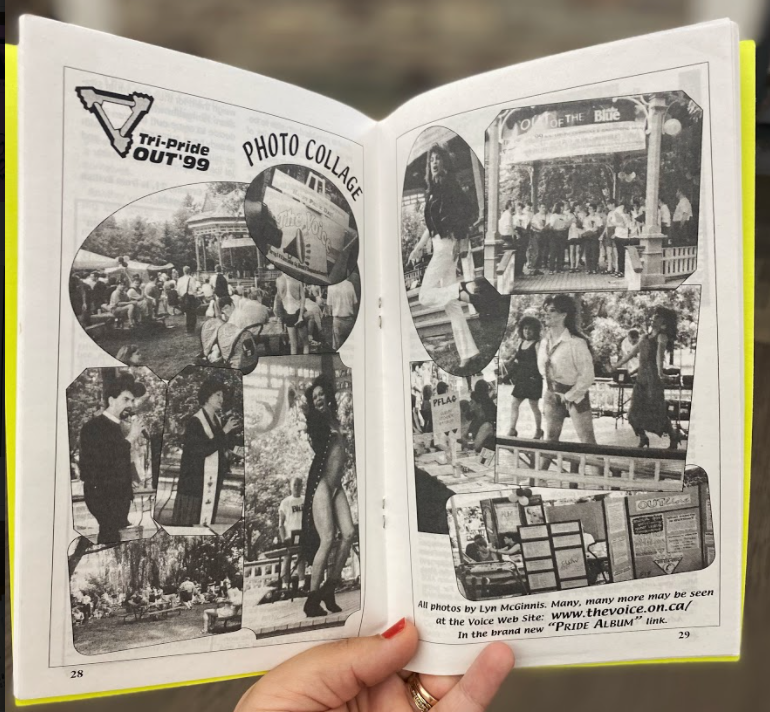 This is a photo of a spread from The Voice magazine, showing a collage of photos from the celebrations in Victoria Park in 1999.